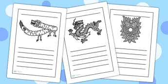 Chinese Dragon Mask Writing Frames - chinese, writing, literacy