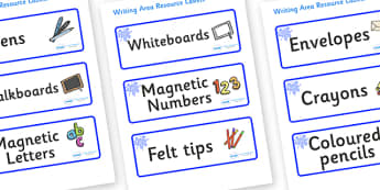Blue Themed Editable Writing Area Resource Labels - Themed writing resource labels, literacy area labels, writing area resources, Label template, Resource Label, Name Labels, Editable Labels, Drawer Labels, KS1 Labels, Foundation Labels, Foundation S