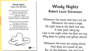 R L Stevenson Windy Nights Poem - stevenson, windy nights, poem
