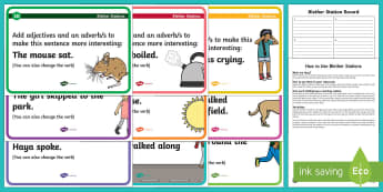 Improving Sentences with Adjectives and Adverbs Blether Stations - CfE Literacy, up-levelling sentences, adjectives, adverbs, grammar, improving sentences,Scottish