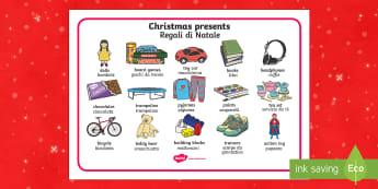 Christmas presents Word Mat italian translation English/Italian - Christmas Presents Word Mat - Christmas, xmas, presents, present, writing about christmas, what I'd