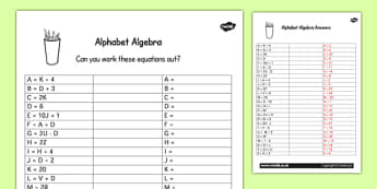 Alphabet Algebra Activity Sheet - worksheets, letters, activities