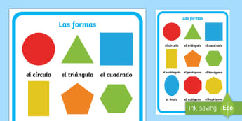 Large 2D Shapes Display Poster - Spanish, KS2, vocabulary, shapes, maths, 2D, large, display, poster, classroom, organisation, decora