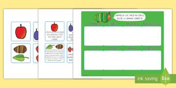 Tarjetas de emparejar de los días de la semana para ayudar la enseñanza de: la oruga glotona - secuenciar cuento, secuenciar historia, dias de la semana, calendario, lecto, leer, literatura infan