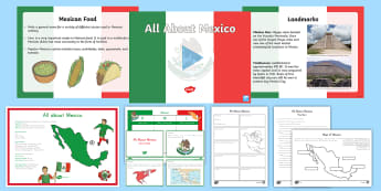 All About Mexico Resource Pack - Mexico, All About Mexico, flag, Olmecs, Mexican, facts, factfile, Mexico City