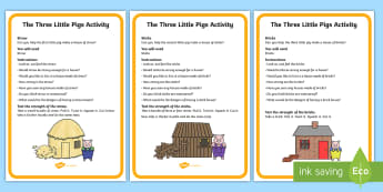 The Three Little Pigs Materials Activity Cards - the three little pigs, materials, activity cards, card, materials cards, themed activity cards, flash card