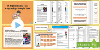 Y6 Information Texts: Biography Example Text - genre, WAGOLL, exemplar, non-fiction, text, text features, SPaG, GPS, example, exemplifications, por