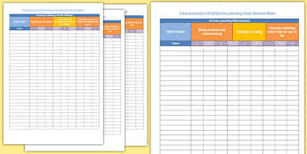 Characteristics of Effective Learning Class Record Sheet - record sheet