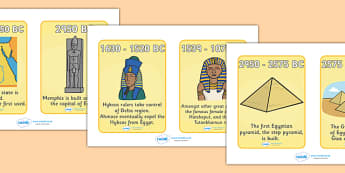 Ancient Egyptian Timeline Cards - Ancient Egyptian, history, Egyptians, timeline, cards, flashcards, Egypt, pyramids, Pharaoh, hierogliphics, hieroglyphs, Tutankhamun, Giza, Dahshur, Mummy