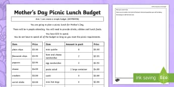 Mother's Day Picnic Lunch Budget Activity Sheet - Mother's Day Maths, maths, mother, mother's day, mum, addition, subtraction, multiplication, divis