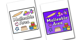 Malleable Area Sign - sign, display sign, area display sign, area sign, area, malleable area, malleable sign, malleable area classroom sign, malleable poster, classroom areas, school areas, classroom area signs, topic signs, topic area signs
