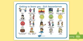 Getting to Know You Word Mat English/German - EAL, German, learning German,German-translation