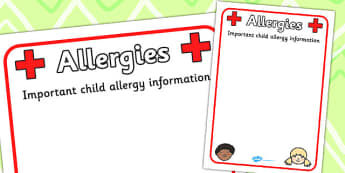 Pupil Allergy Information Poster - allergy, allergy information, allergies, pupil information, pupils, poster, sign, sheet, display