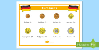 Euro Coins Word Mat German - German, Euros, Coins, Money, Germany, MFL, languages