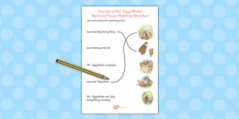 The Tale of Mrs Tiggy Winkle Word and Picture Match - mrs tiggy winkle