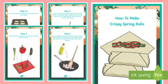 Crispy Spring Rolls Recipe Cards - Australia YR 3 and 4 Design Technology , food production, food procedure, spring rolls, asian food,