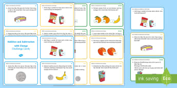 Addition and Subtraction with Change Money Maths Challenge Cards - Solve simple problems in a practical context involving addition and subtraction of money of the same