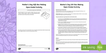 Mother's Day Gift Box Making Open-Ended Activity Sheet - Mother's Day Maths, maths, mother, mother's day, mum, length, width, height, area, perimeter, meas