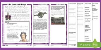 The Queen's Birthdays Differentiated Reading Comprehension Activity - KS2 The Queen's Birthday (21st April 2017), UKS2, LKS2, Upper Key Stage Two, Lower Key Stage Two, U