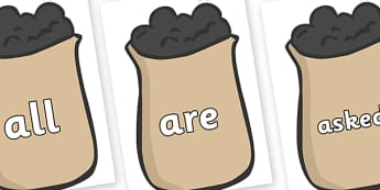 Tricky Words on Bags of Wool - Tricky words, DfES Letters and Sounds, Letters and sounds, display, words