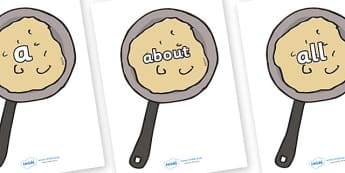 100 High Frequency Words on Pancakes - High frequency words, hfw, DfES Letters and Sounds, Letters and Sounds, display words