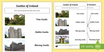 Castles of Ireland Matching Activity Sheet - ROI - The World Around UsWAU, castles, trim, blarney, dublin, bunratty,Irish, worksheet