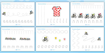 Tour de France Themed Pencil Control Worksheets - le tour, sports