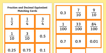 Fraction and Decimal Equivalent Matching Cards