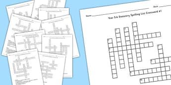 Year 5-6 Statutory Spelling List Crossword Pack - crossword, pack