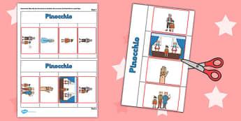 Pinocchio Story Writing Flap Book - story, flap book, pinocchio