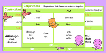 Conjunctions KS1 Word Mat - connectives, word mat, conjunctions