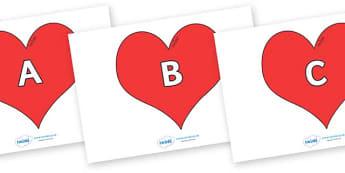 A-Z Alphabet on Hearts (Plain) - A-Z, A4, display, Alphabet frieze, Display letters, Letter posters, A-Z letters, Alphabet flashcards