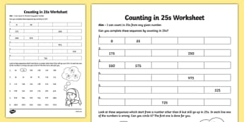 Counting in 25s Worksheet - counting, 25, worksheet, count, sheet