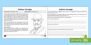 Andrew Carnegie Text Detective Activity Sheets - CfE Scottish Significant Individuals, text detective, main points, Andrew Carnegie, reading comprehe
