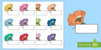 Editable Self Registration Labels (Flowers) - Self registration, register, editable, labels, registration, child name label, printable , flower, flowers, plants, leaves, petals, growth