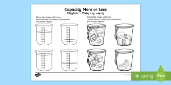Capacity More or Less Activity Sheet English/Polish - Capacity Matching Cards EYFS - capacity, maths, numeracy, matching cards, match, cards, eyfs, capact