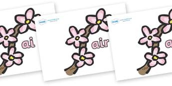 Phase 3 Phonemes on Spring Blossom - Phonemes, phoneme, Phase 3, Phase three, Foundation, Literacy, Letters and Sounds, DfES, display