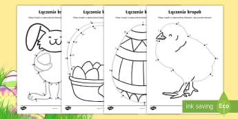 Karty Wielkanocne łączenie kropek - łączenie, połącz, kropki, kropek, matematyka, liczby, liczenie, wielkanoc, wielkanocny, królik,