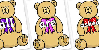 Tricky Words on Bow Tie Teddy - Tricky words, DfES Letters and Sounds, Letters and sounds, display, words