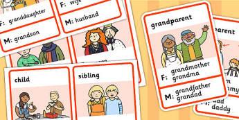 Cartes de vocabulaire : La famille et le genre des mots - Anglais LV