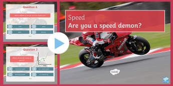 Motion Quiz PowerPoint - PowerPoint Quiz, Motion, Speed, Time, Distance, Relative Motion, Distance-Time Graph, Gradient