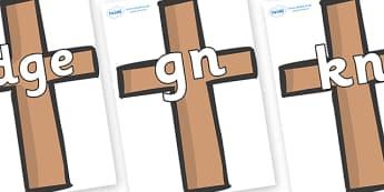 Silent Letters on Crosses - Silent Letters, silent letter, letter blend, consonant, consonants, digraph, trigraph, A-Z letters, literacy, alphabet, letters, alternative sounds
