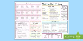 4th Grade Writing Word Mat - 4th grade writing mat, 4th grade writing, 4th grade, fourth grade, us schools, usa