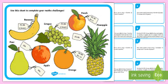 Maths Money Problems Challenge Cards - fruit, money, problem solving, KS2, maths, rands and cents