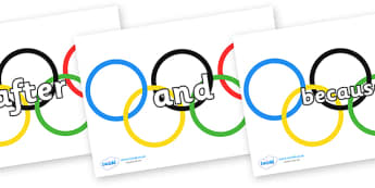 Connectives on Olympic Rings - Connectives, VCOP, connective resources, connectives display words, connective displays