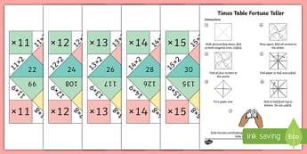 11-15 Times Tables Fortune Teller Pack - 11, 12, 13, 14, 15, times table, times tables, fortune teller, pack, fold, paper model, paper craft, paper, model, craft, origami, activity