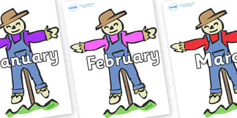 Months of the Year on Scarecrows - Months of the Year, Months poster, Months display, display, poster, frieze, Months, month, January, February, March, April, May, June, July, August, September