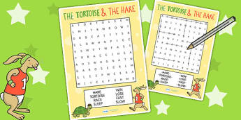 The Tortoise and The Hare Wordsearch - word search, story books