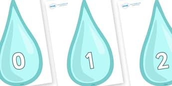 Numbers 0-31 on Water Drops - 0-31, foundation stage numeracy, Number recognition, Number flashcards, counting, number frieze, Display numbers, number posters