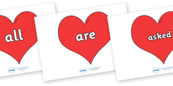 Tricky Words on Hearts (Plain) - Tricky words, DfES Letters and Sounds, Letters and sounds, display, words